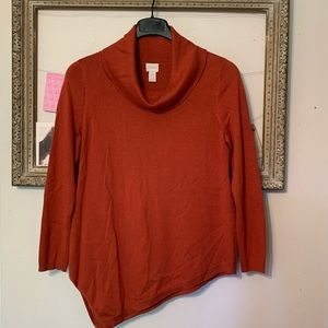 Chico's Burnt Orange Lightweight Cowl Neck Sweater